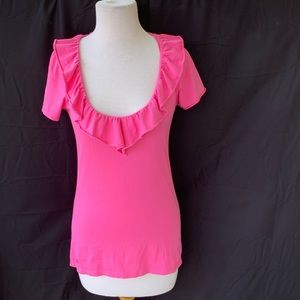 Lilly Pulitzer Pima Cotton Ruffle Scoop Neck Top